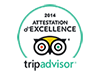 Oxalys, certifikat for topkvalitet TripAdvisor 2014